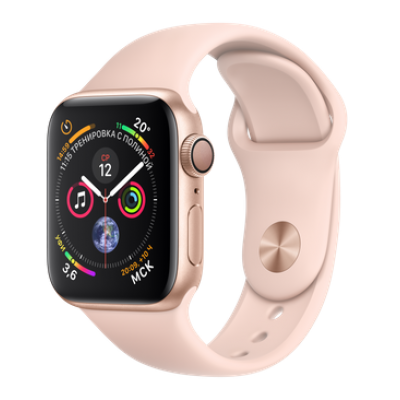 Часы Apple Watch Series 4 44mm Gold Aluminum Case with Pink Sand Sport Band (MU6F2)