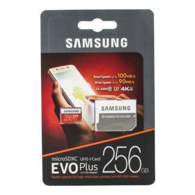 Карта памяти Micro SDHC 256GB Class 10 Samsung  EVO Plus UHS-I EVO+ V2 (SD adapter)