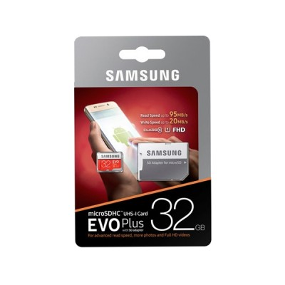 Карта памяти Micro SDHC 32Gb Class 10 Samsung EVO Plus V2 MB-MC32GA/RU + SD adapter